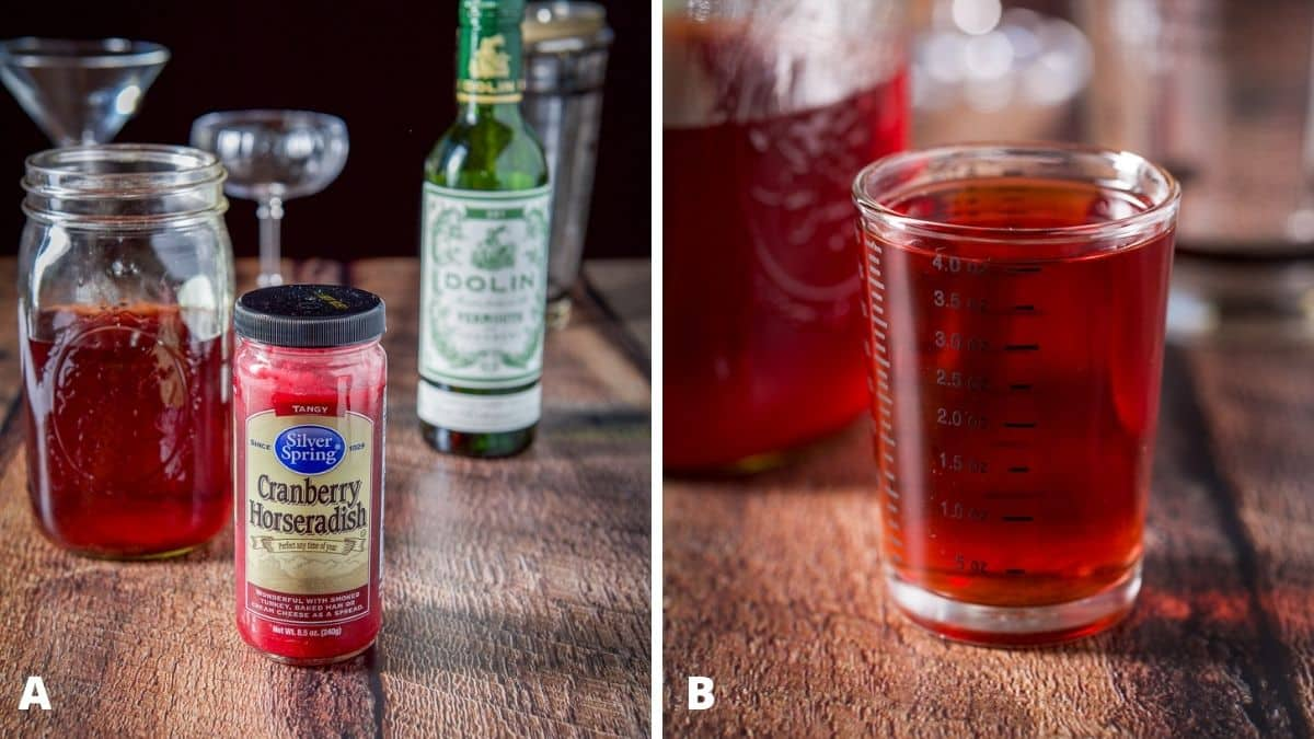 Left - Cranberry horseradish, cherry vodka, vermouth, glasses and shaker on the table. Right - cherry vodka measured with the jar of vodka in back