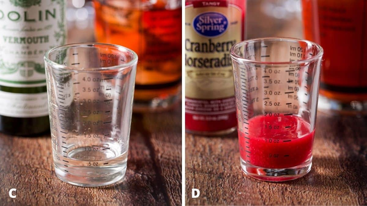 Left - vermouth measured with bottle and shaker. Right - cranberry horseradish measured with the jar and shaker