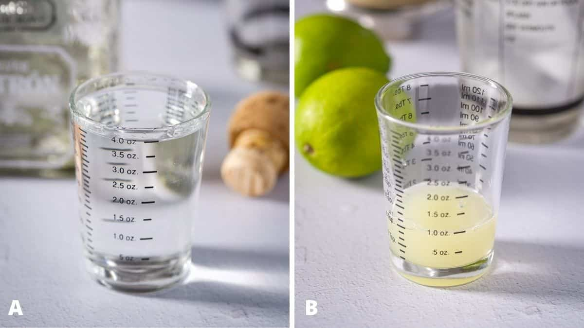 Left - tequila measured with the bottle and cork. Right - lime juice measured with two limes and the shaker