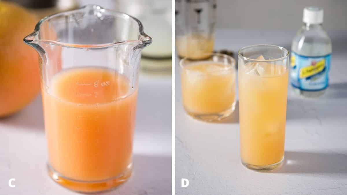 Left - grapefruit juice in a large measuring glass. Right - grapefruit cocktail poured into the glasses with club soda in the background