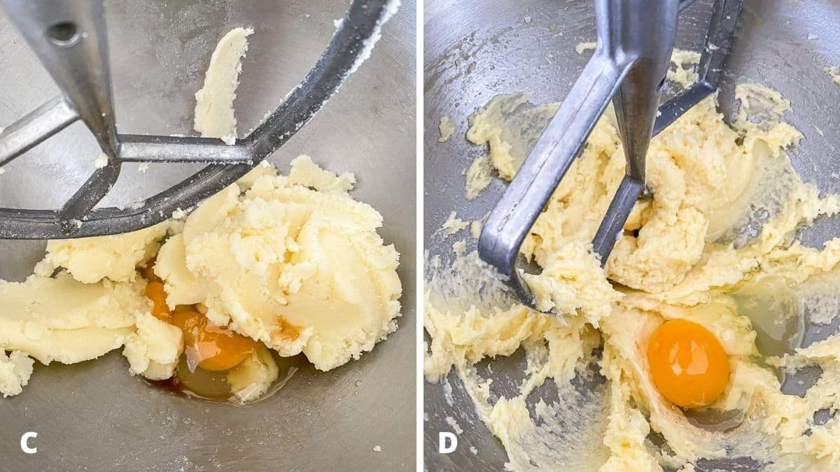 Left - egg and vanilla added to the mixer. Right - the batter mixed and another egg added