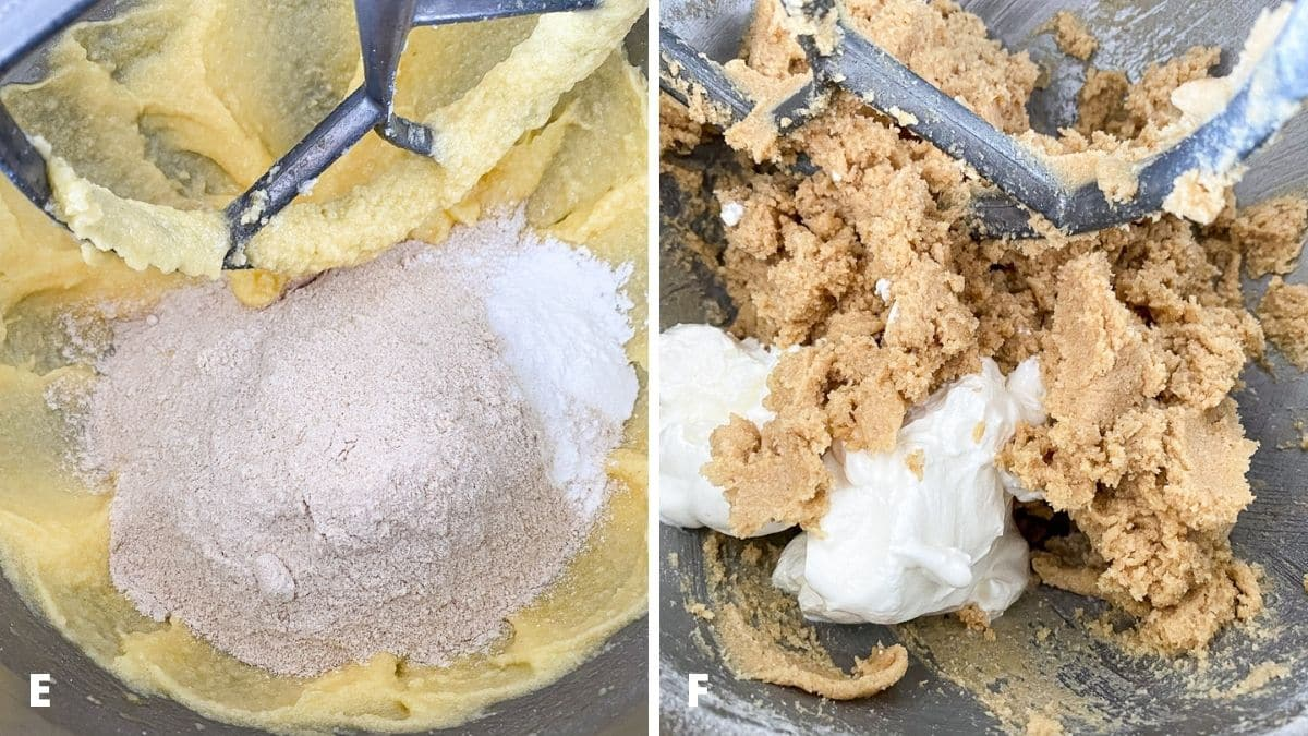 Left - A mixer container with the dry ingredients added to the wet ingredients. Right - the batter mixed with yogurt added to the mixer
