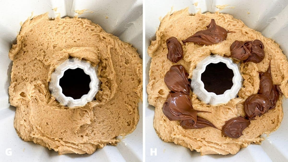 Left - a bundt pan with the cake batter in it. Right - nutella added to the batter