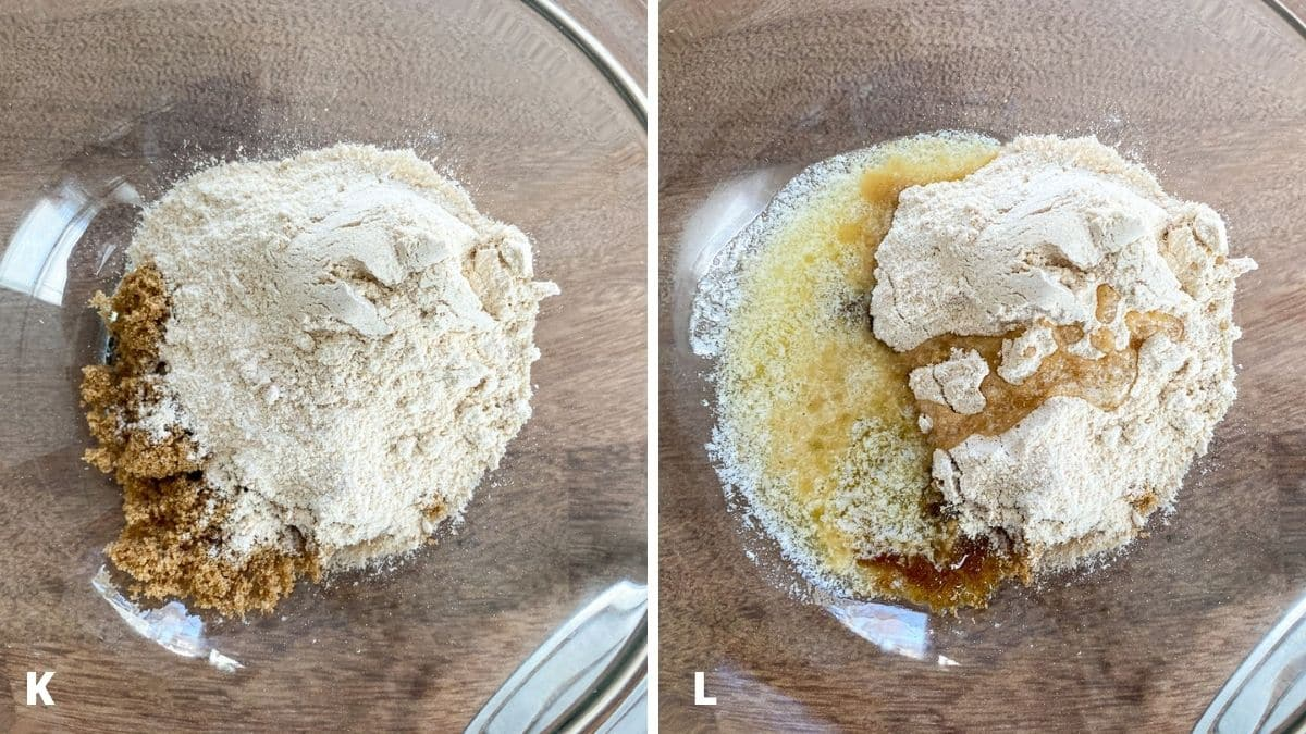 Left - a glass bowl with sugar and flour. Right - melted butter added to the sugar and flour