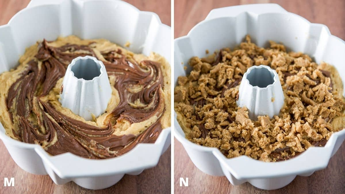 Left - Nutella swirled in the cake batter. Right - crumble on the batter in the bundt pan