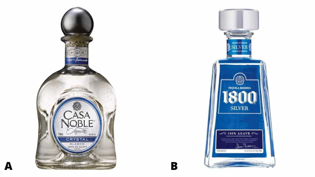 Bottles of casa noble and 1800 silver tequila