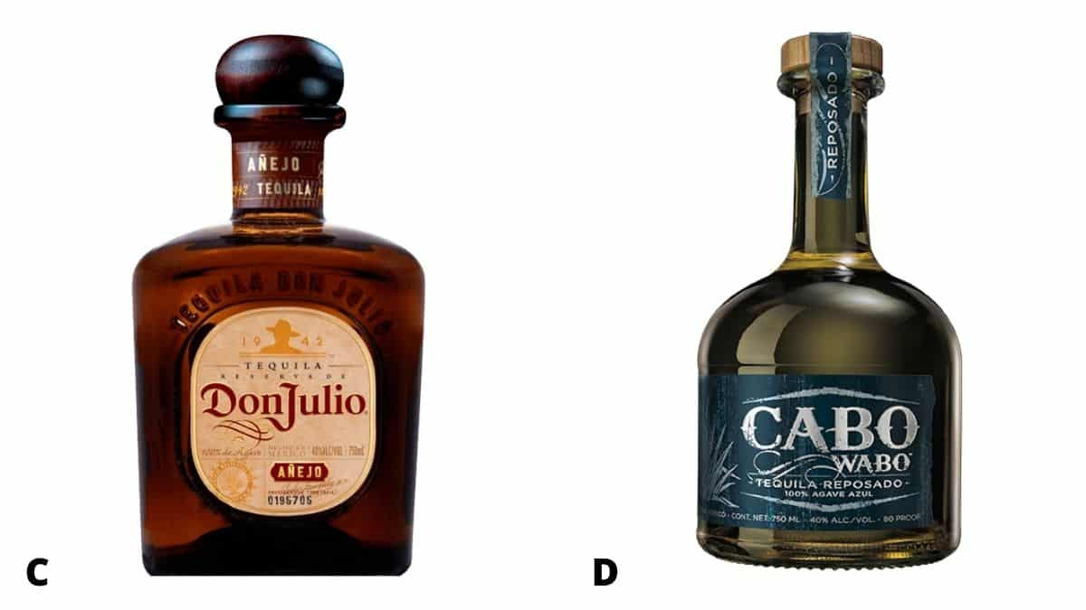 Bottles of Don Julio anejo and Cabo Wabo reposado tequila