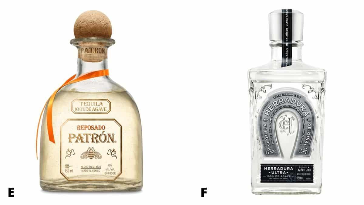 Bottles of Patron Reposado and Herradura Ultra tequila