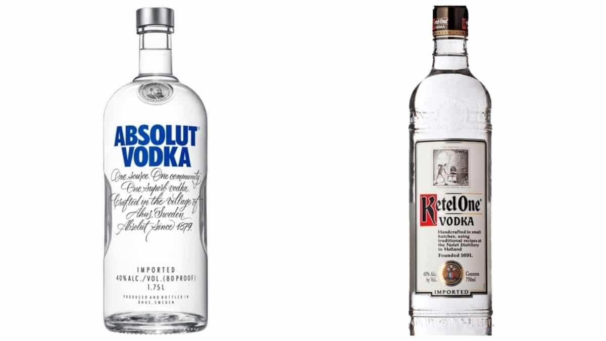Bottles of Absolut and Ketel One vodka