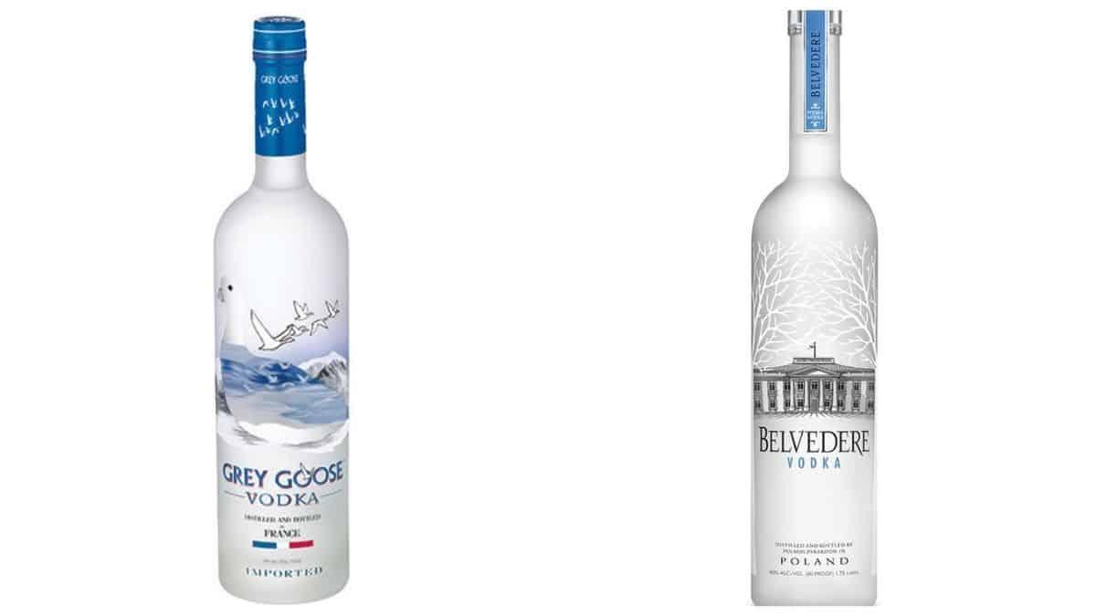 Bottles of Grey Goose and Belvedere vodka