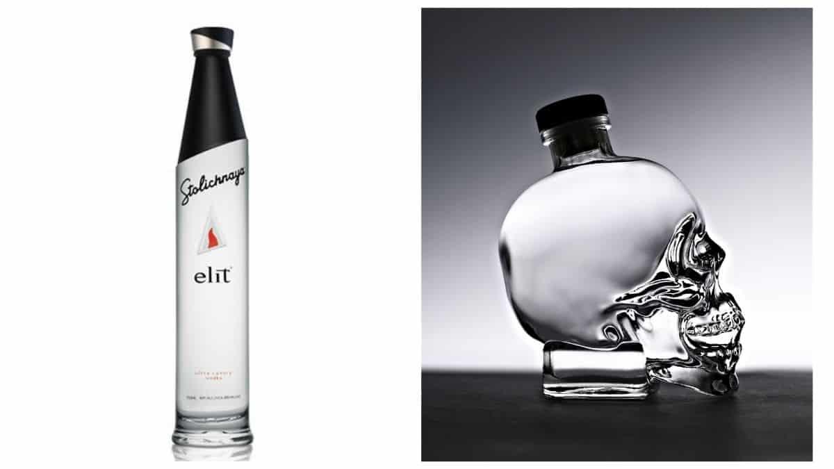 Bottles of Stolichnaya elite and Crystal Head vodka
