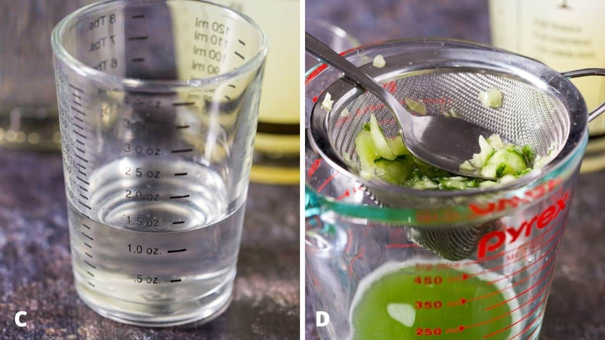 Simple syrup measured and a strainer over a measuring cup with cucumber and a spoon in it