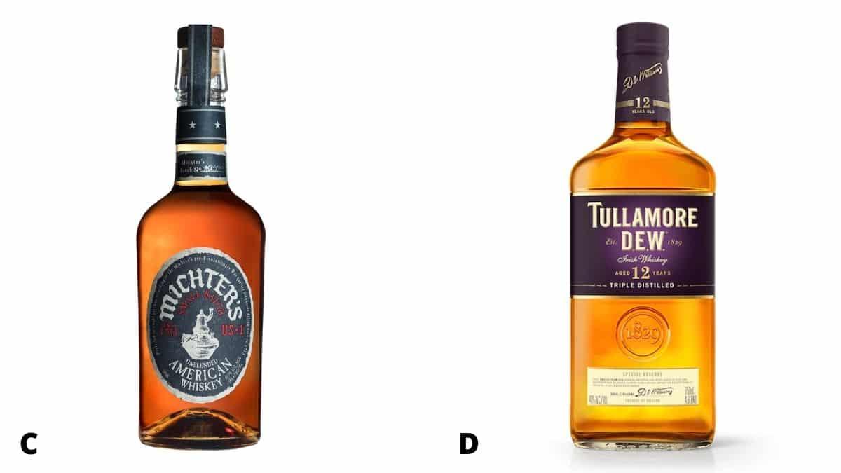Michter's and Tullamore Dew whiskey bottles