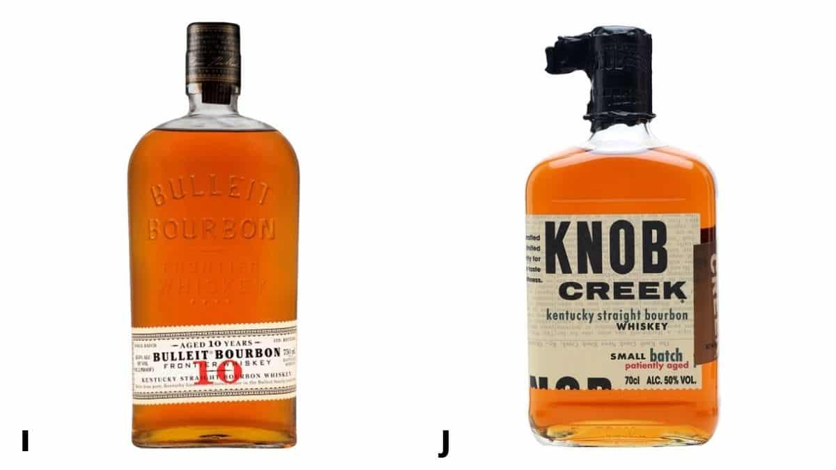 Bottles of Bulleit and Knob Creek bourbon