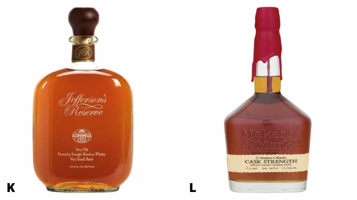Bottles of Jefferson's Reserve and Maker's Mark bourbon