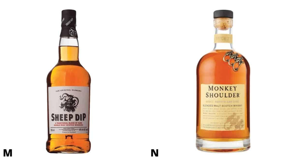 Bottles of Sheep Dip and Monkey Shoulder Scotch