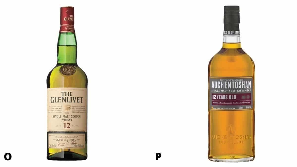 Bottles of Glenlivet and Auchentoshan scotch