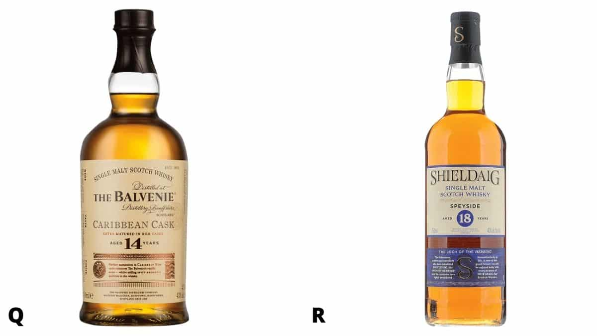 Bottles of the Balvenie and Shieldaig scotch