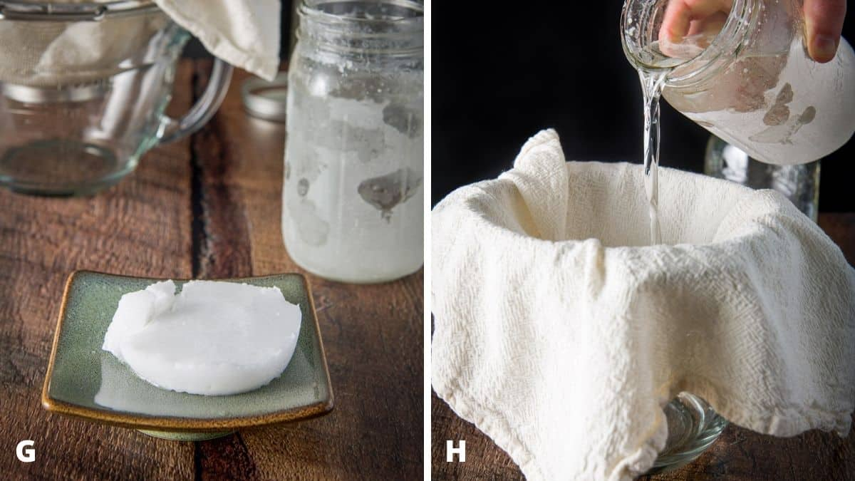 Left - coconut oil solid on a plate with rum in back. Right - a sieve with cheesecloth with a male pouring rum into the sieve