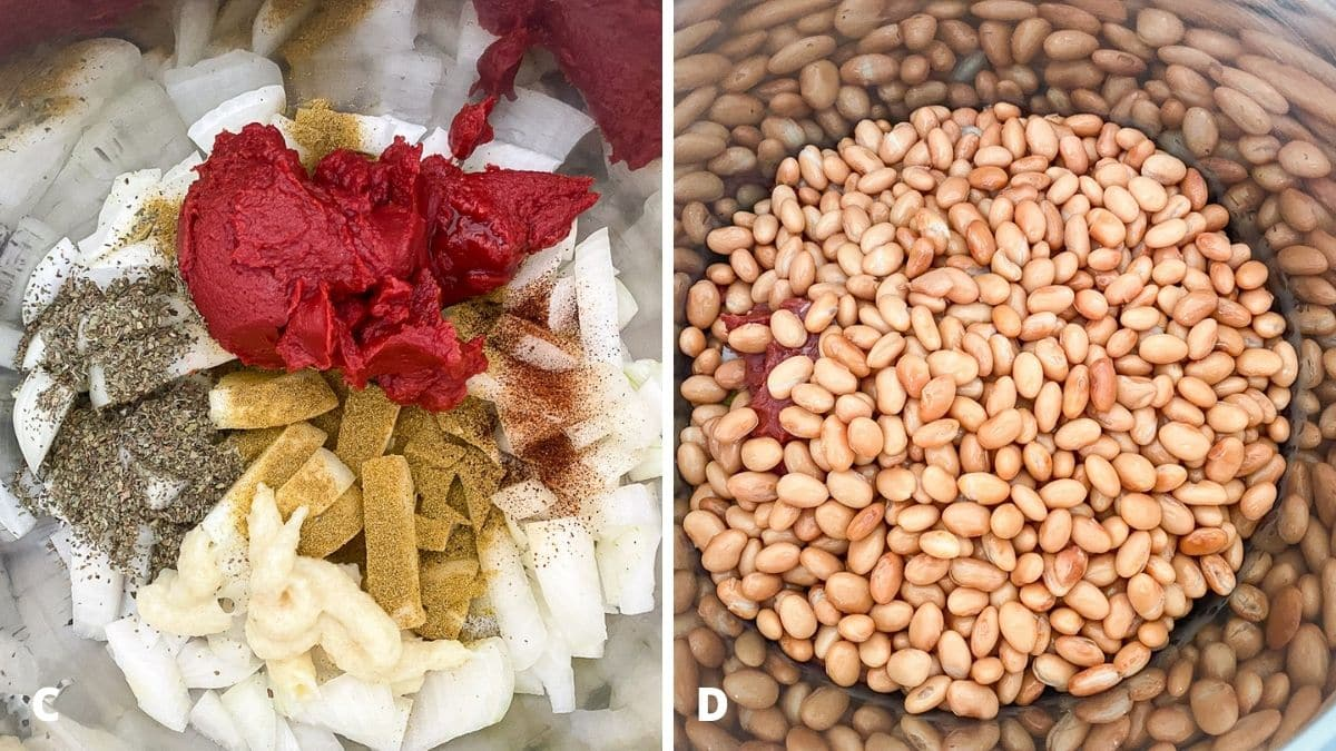 Left - tomato paste added to the onions. Right - pinto beans added to the pot