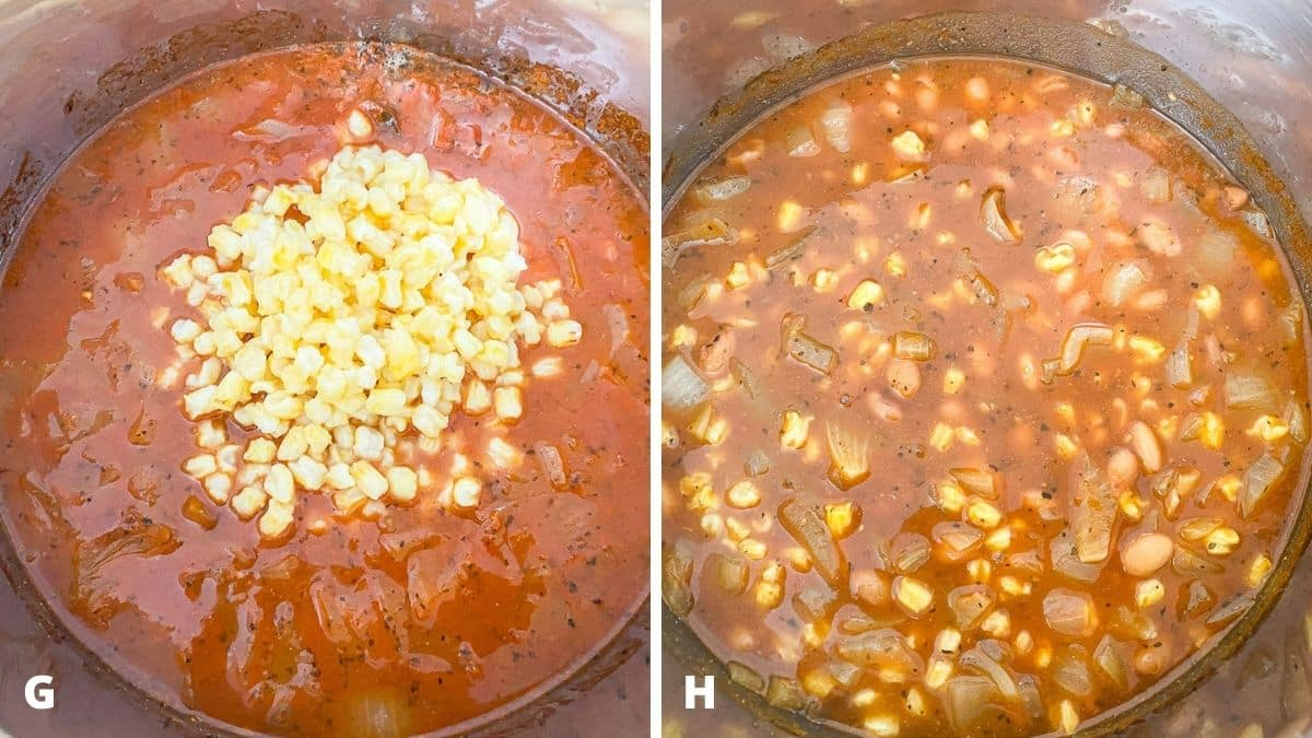 Left - the soup done with hominy added. Right - the hominy stirred together in the soup