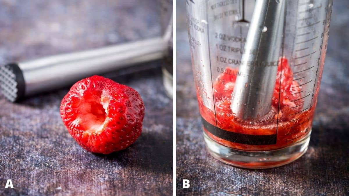 Left - hulled strawberry with a muddler. Right - shaker with the strawberry muddled
