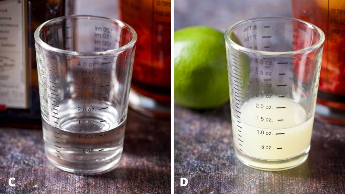 Left - cointreau measured out. Right - lime measured out