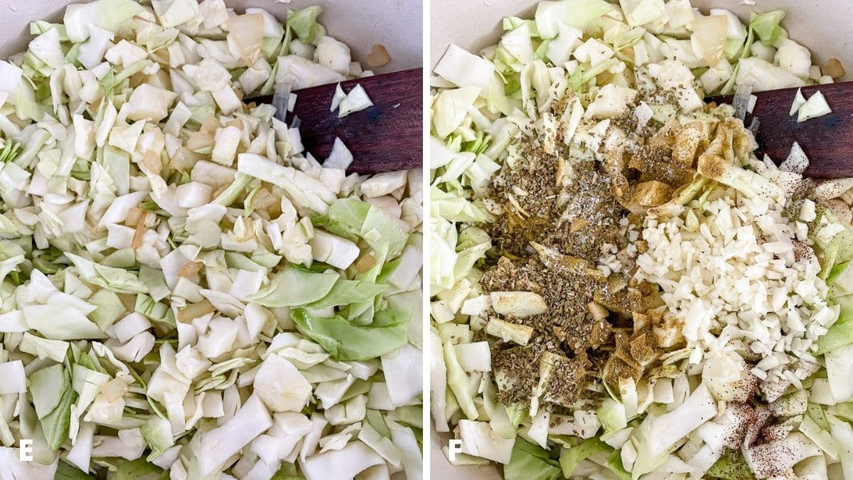 Left - cabbage added to the pan and mixed with the onion. Right - garlic and herbs and spices added to the cabbage