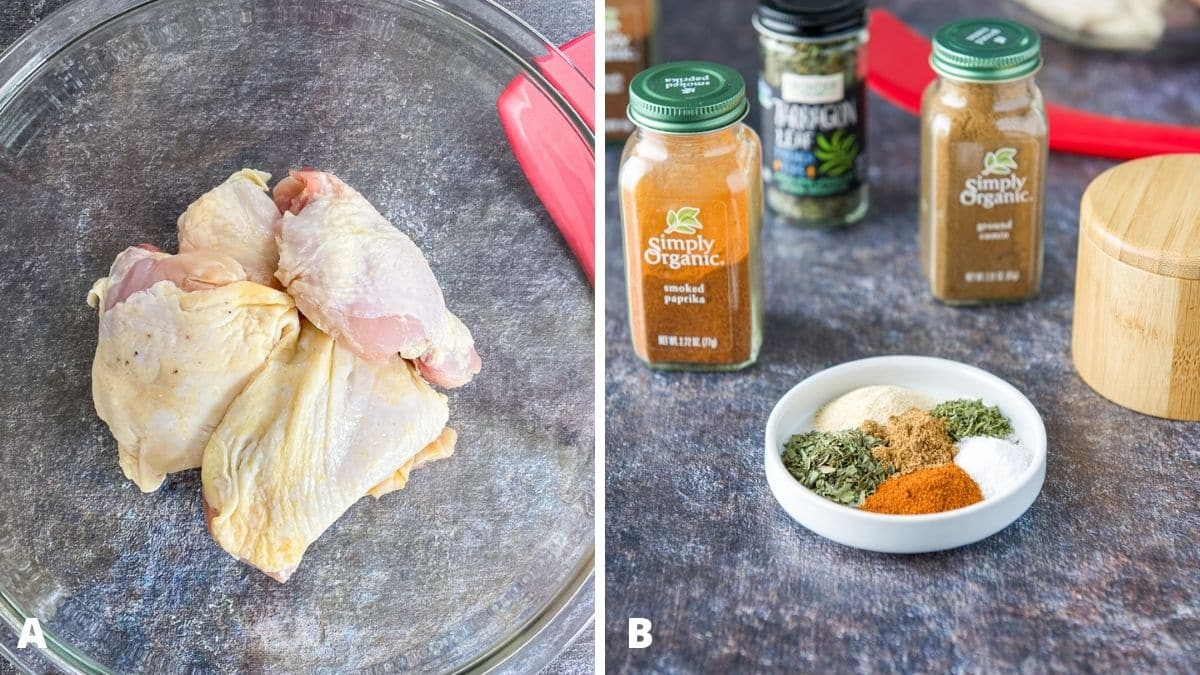 Left - glass bowl with raw chicken thighs. Right - herbs and spices in a white dish with the bottles in the back