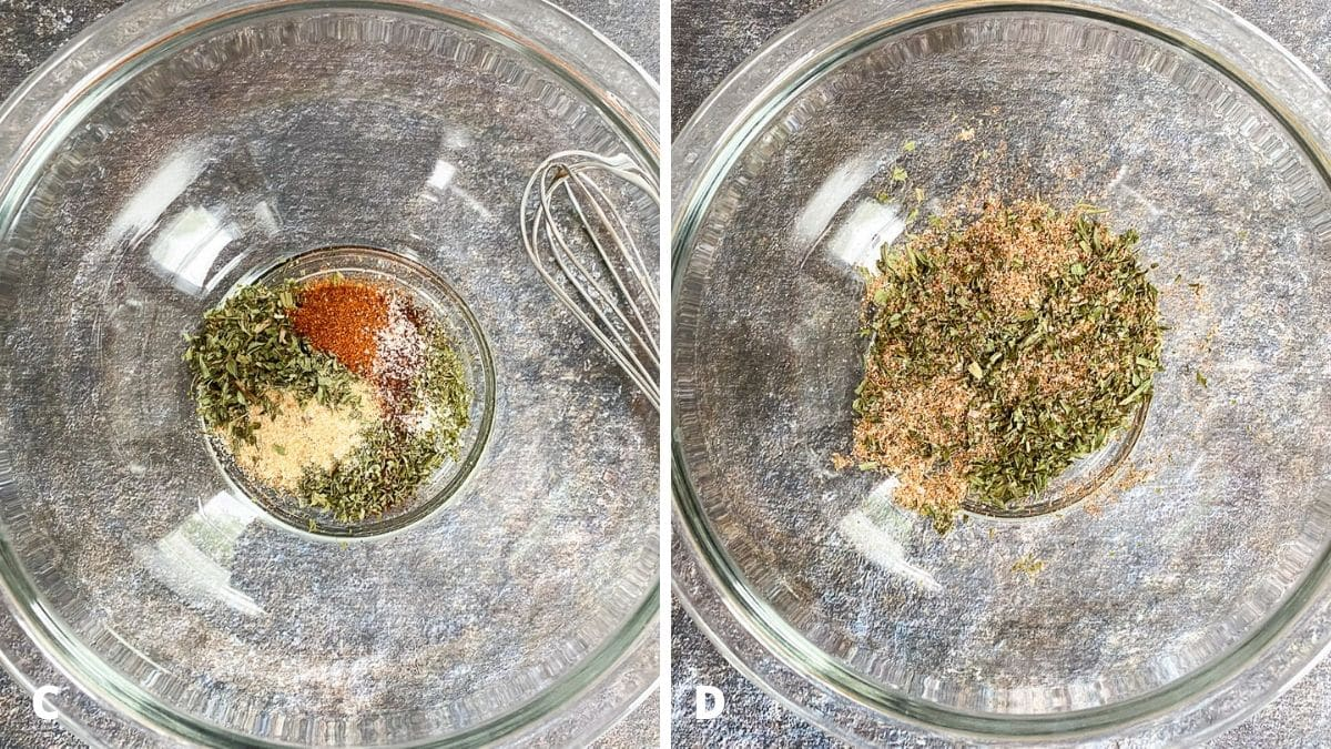 Left - glass bowl with the herbs and spices added. Right - herbs and spices mixed together