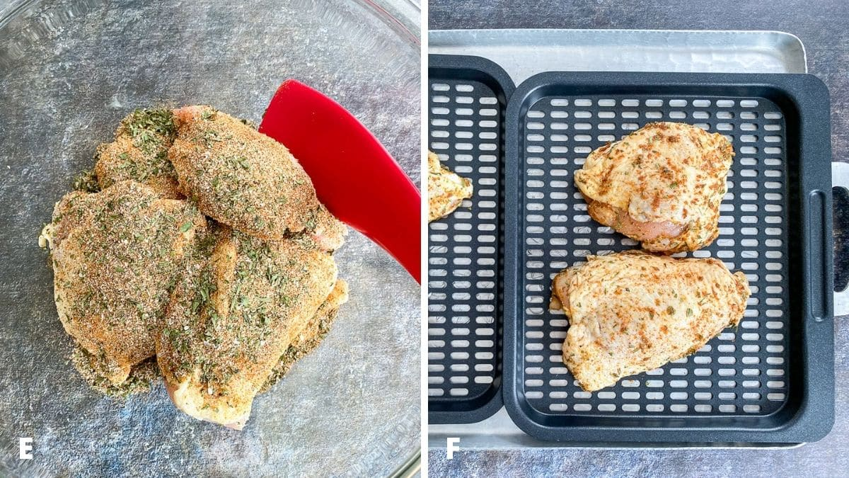Left - herbs and spices added to the chicken thighs. Right - trays with the coated chicken on them
