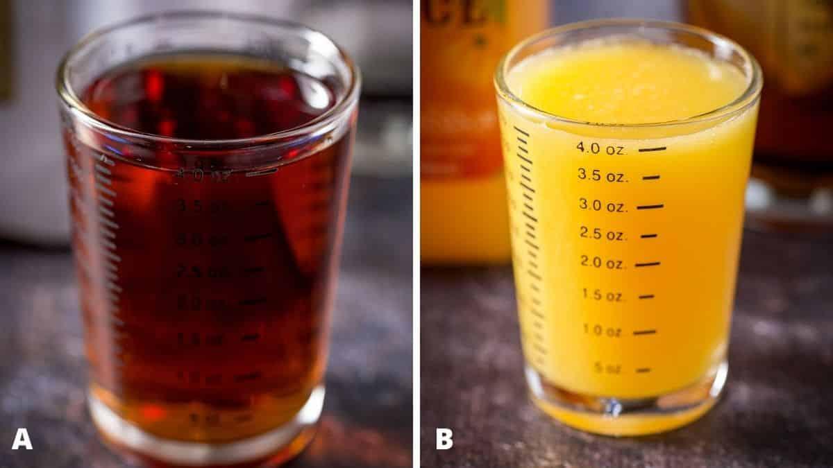 Amaretto and orange juice measured out