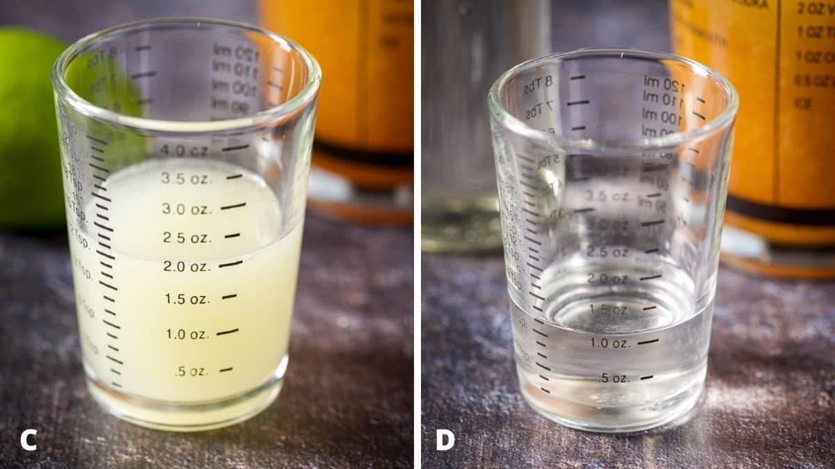 Lime juice and simple syrup measured out