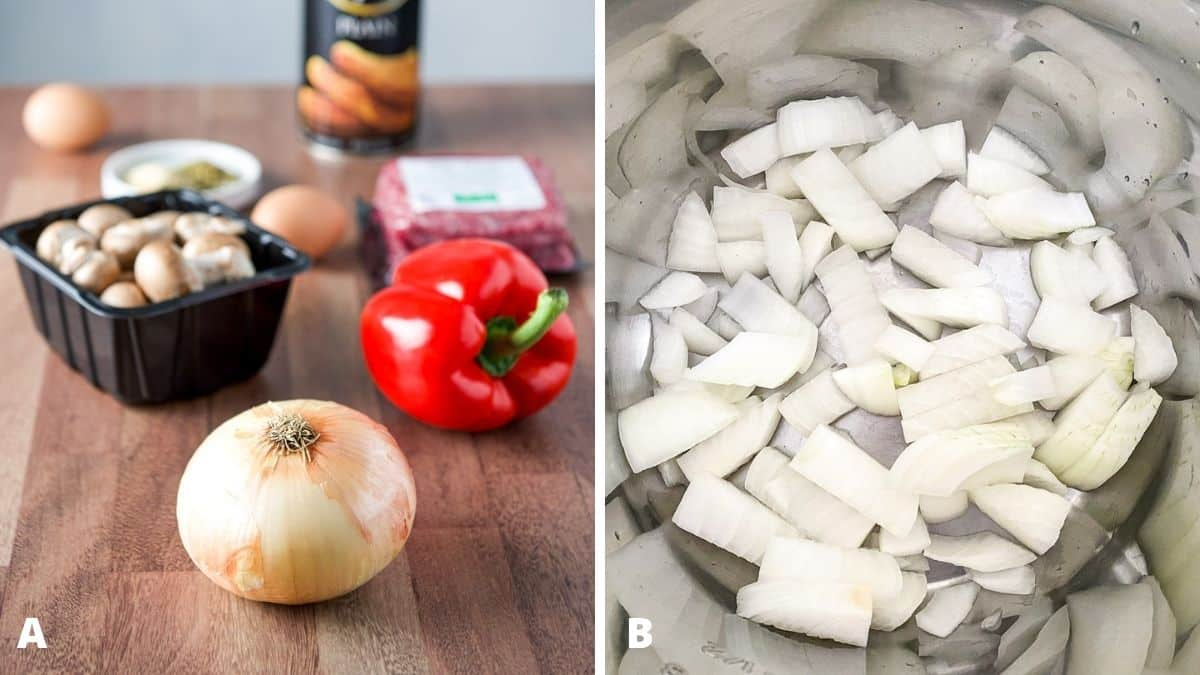 Left - onion, bell pepper, mushrooms, ground beef and other ingredients. Right - chopped onions in the pan