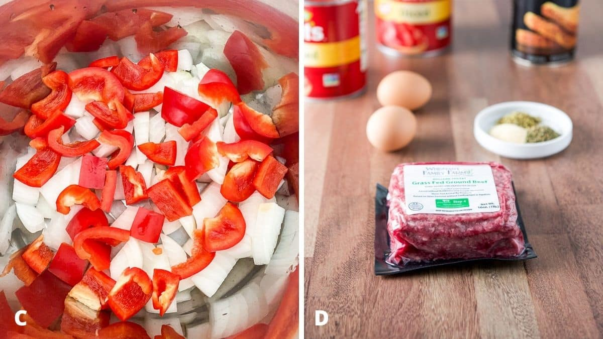 Left - chopped red bell pepper in the pan. Right - ground beef, herbs and spices, eggs, tomatoes and bread crumbs