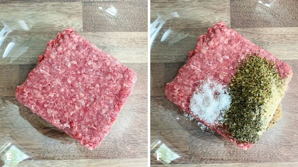Left - ground beef in a glass bowl. Right, herbs, spices and salt on the meat