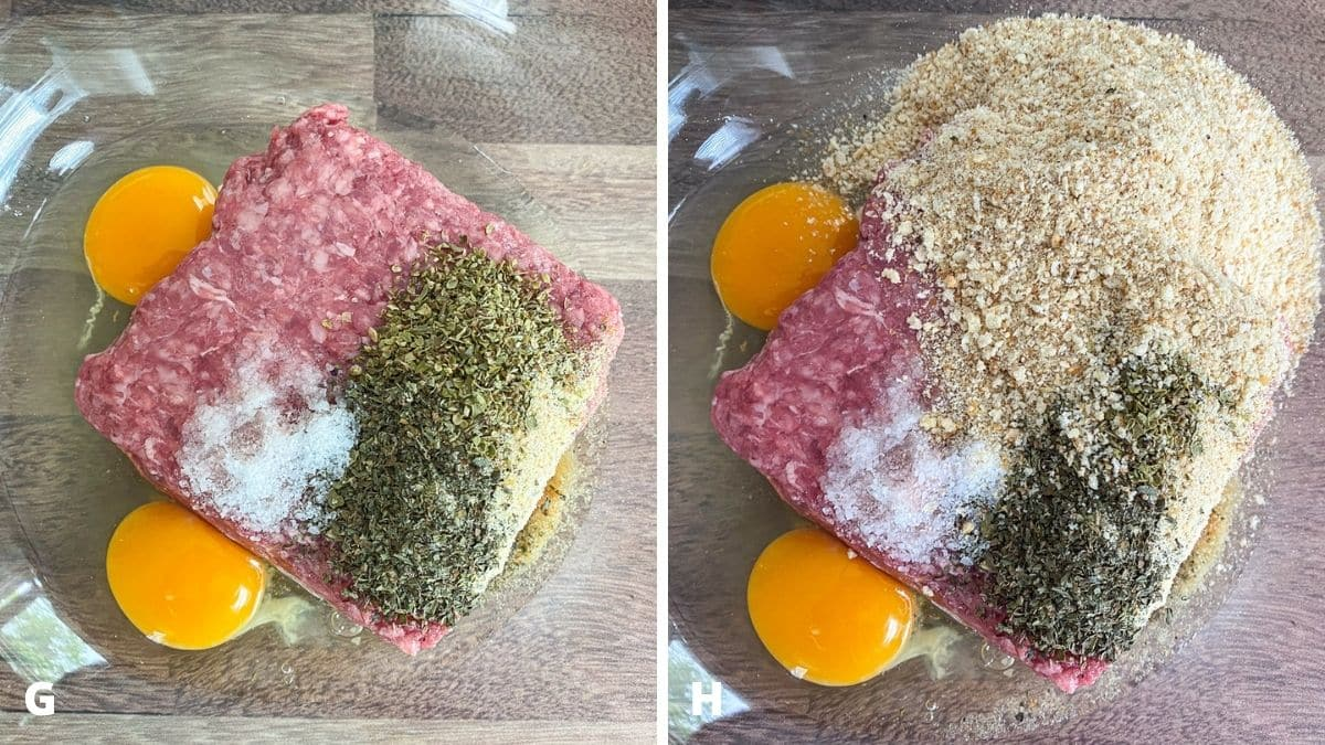 Left - two eggs added to the meat. Right - bread crumbs added to the meat.