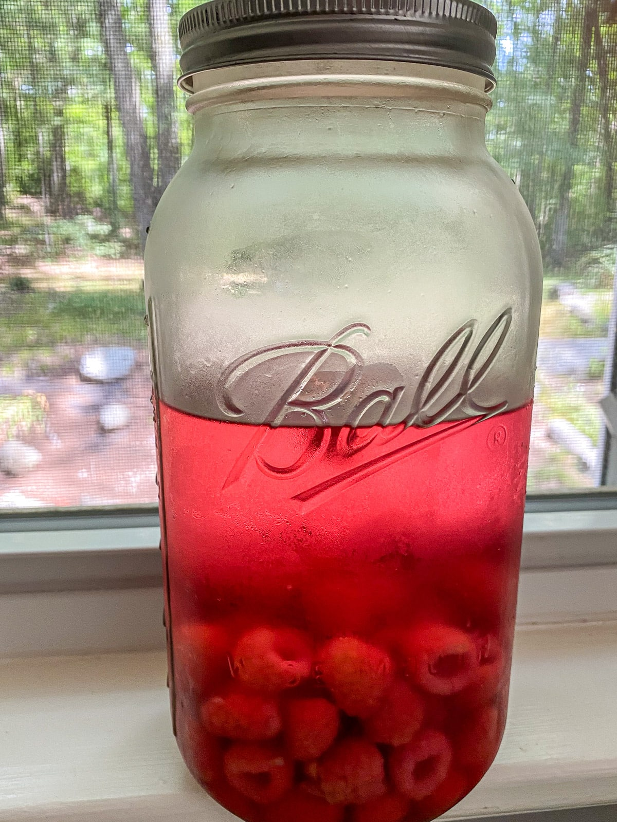 A jar with raspberries and vodka after 3 days of infusing