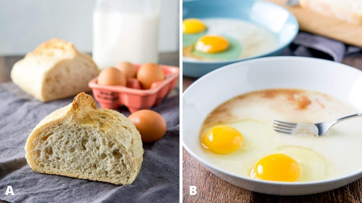 Left - bread, eggs and milk on a napkin. Right - two shallow bowls with eggs, milk and vanilla