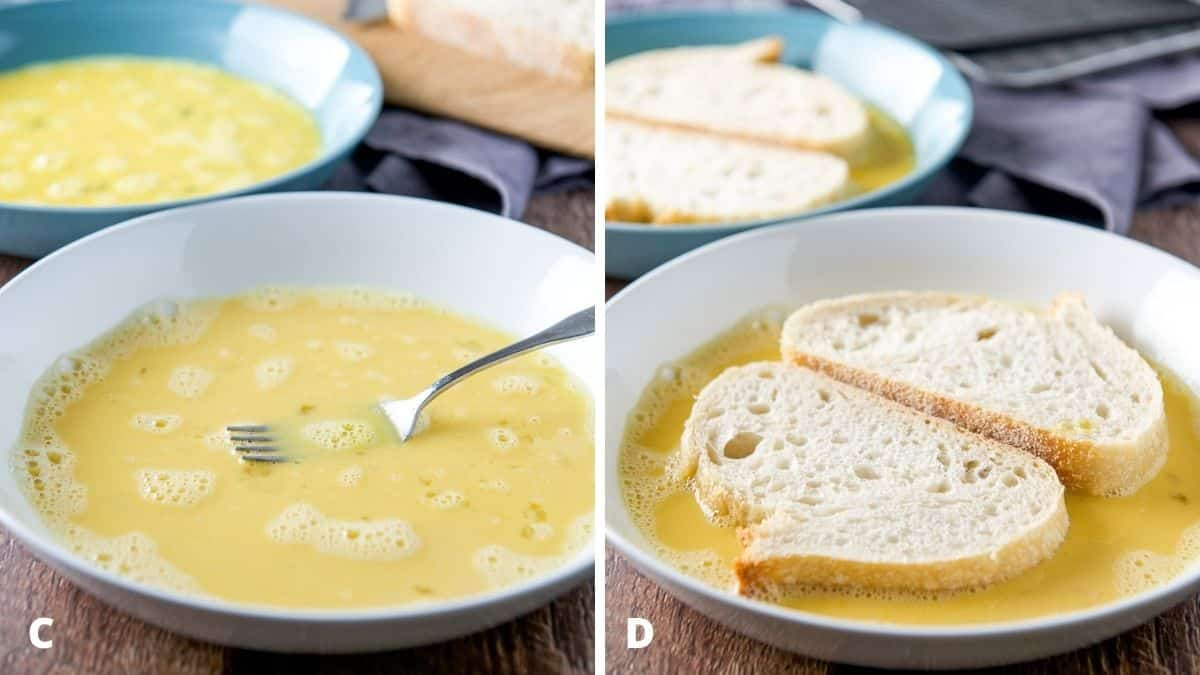 Left - egg mixture in the bowls. Right - sliced bread in the egg bowls