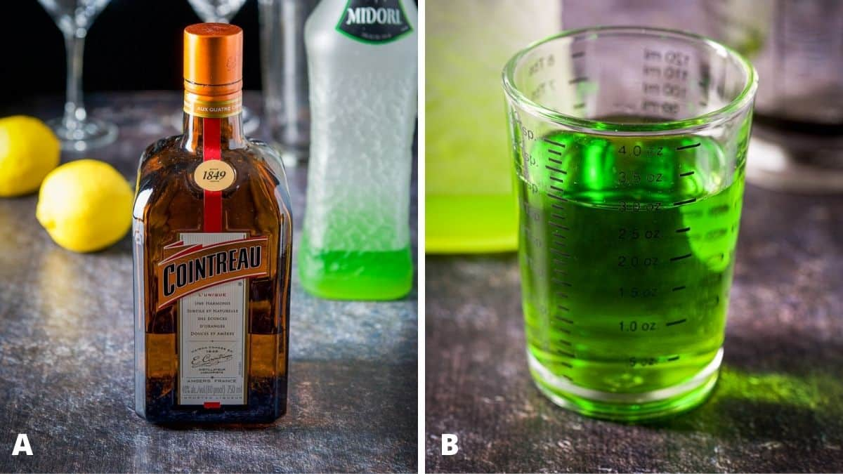 Left - cointreau, midori, lemon and simple syrup. Right - midori measured out