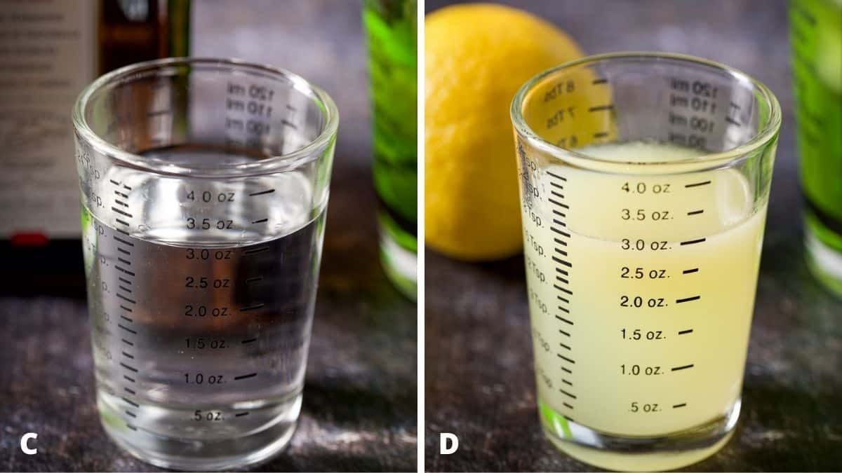 Cointreau and lemon measured out