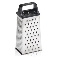 A box grater is the most versatile with six different grate options to shred, shave, dust, and zest. Choose one with a sturdy handle.