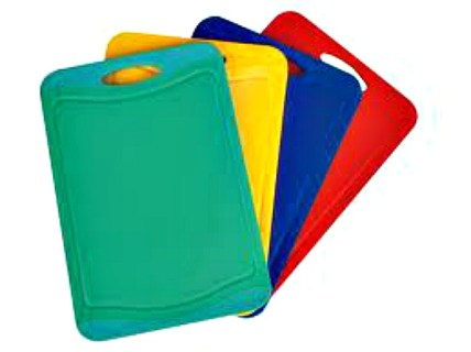 Always have separate plastic cutting boards for meat, chicken and fish, and wash with hot water and soap after each use.