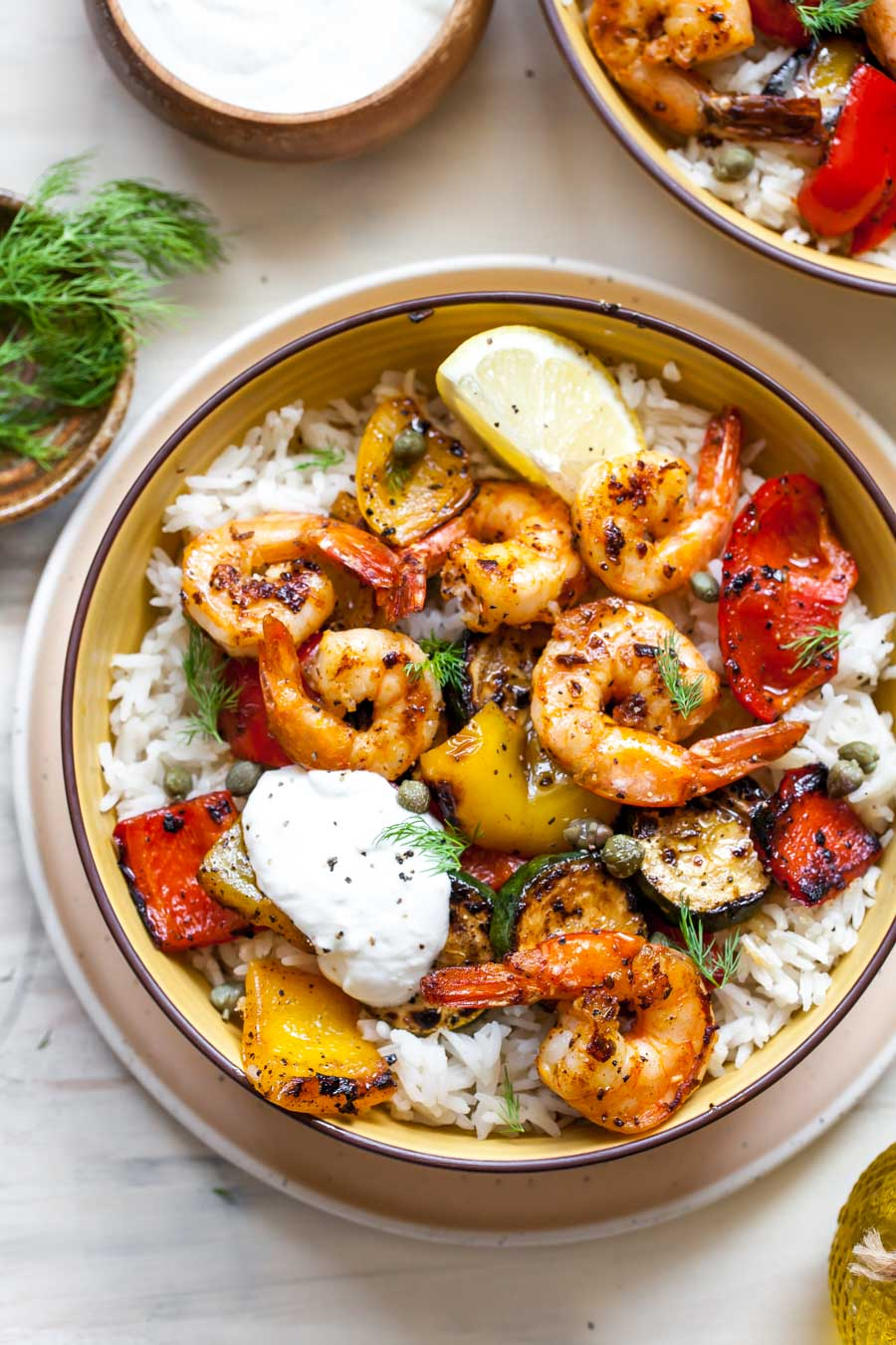 Greek Shrimp Farro Bowl