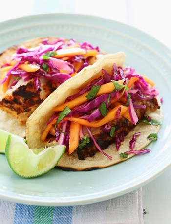Blackened Cod Tacos with Mango Slaw