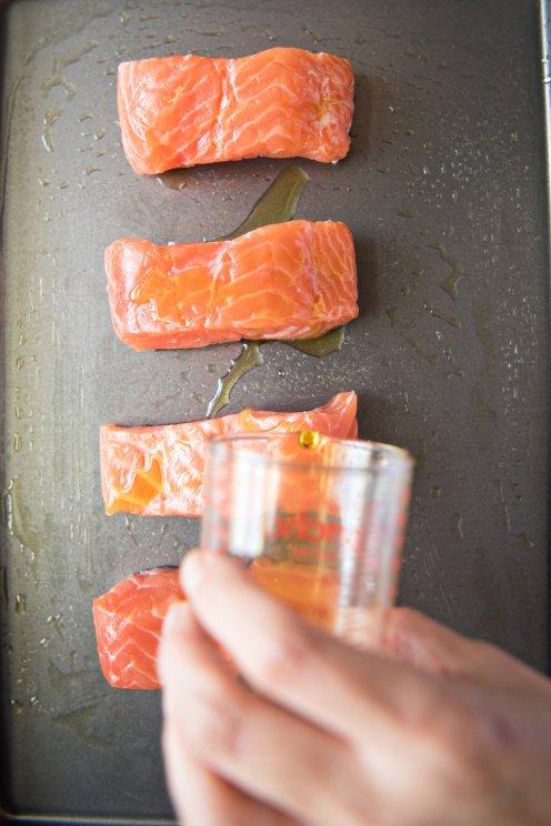 spicy sheet-pan salmon