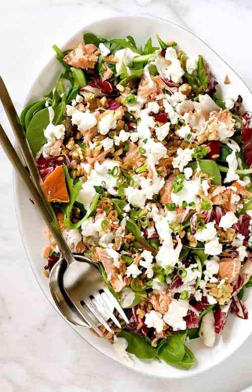 Salmon-Goat-Cheese-Salad-with-Farro