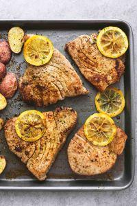 Sheet pan tuna steaks