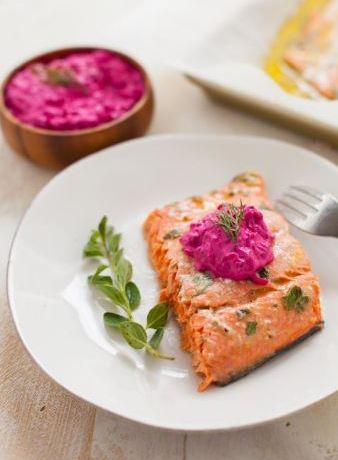 Greek marinated salmon